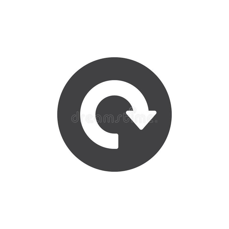 Reload, seta em torno do ícone liso Botão simples redondo, sinal circular do vetor ilustração stock