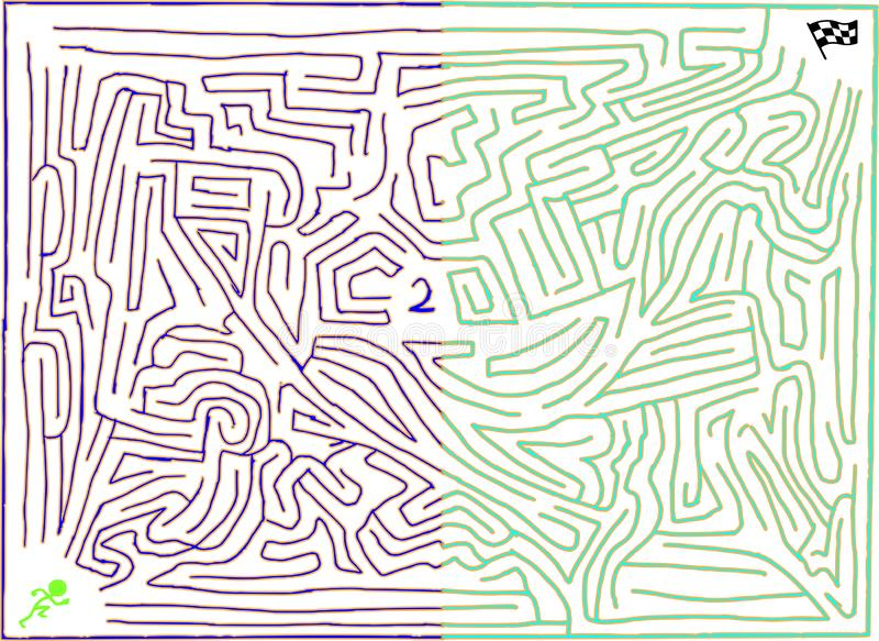 Reloaded maze number two, with twin tone coloring, playable. Reloaded maze number two of medium difficulty. Twin tone coloring bright blue and cyan. Artistic royalty free illustration