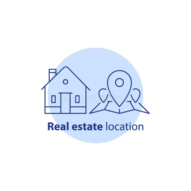 Relocalisation à la maison, emplacement de secteur résidentiel, pointe d'épingle de carte, services d'immobiliers, concept de voi illustration libre de droits