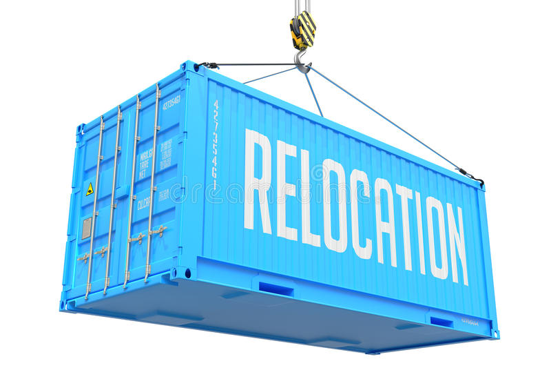 Relocalización - contenedor para mercancías de la ejecución azul fotografía de archivo libre de regalías