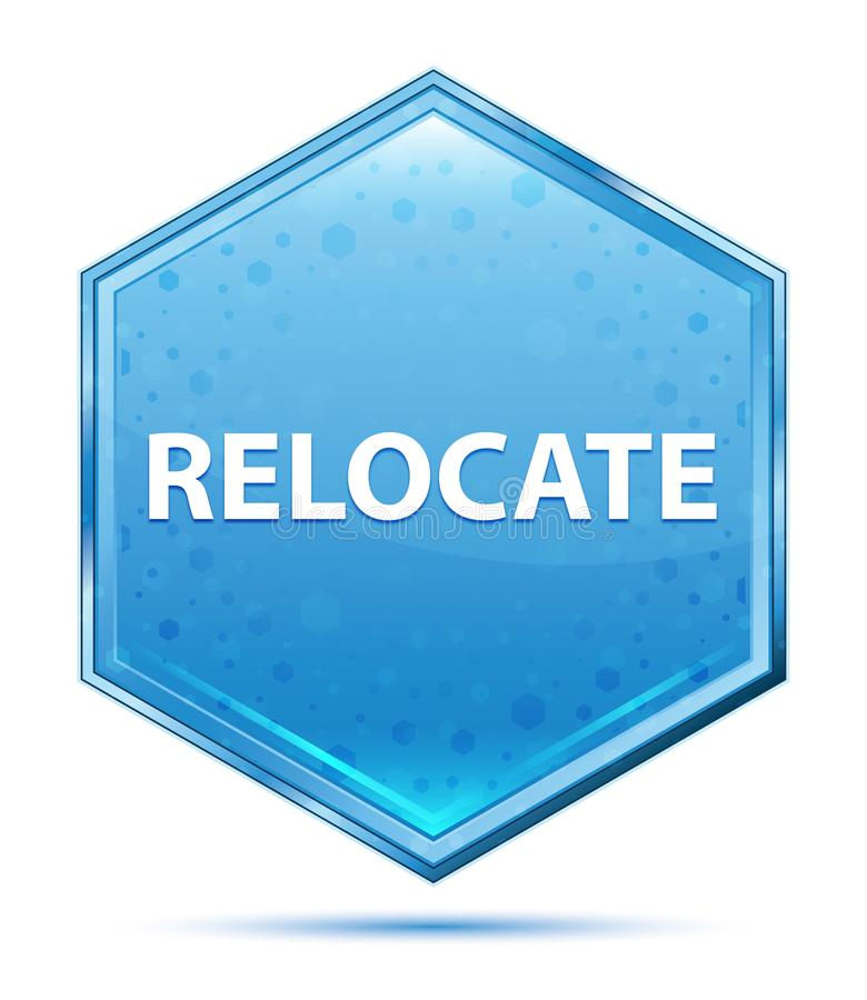 Relocate crystal blue hexagon button vector illustration