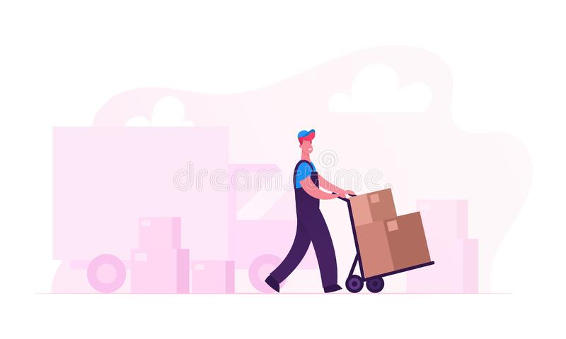 Relocation and Moving into New House Concept. Worker Wearing Uniform Pushing Trolley with Cardboard Boxes Unloading Truck royalty free illustration