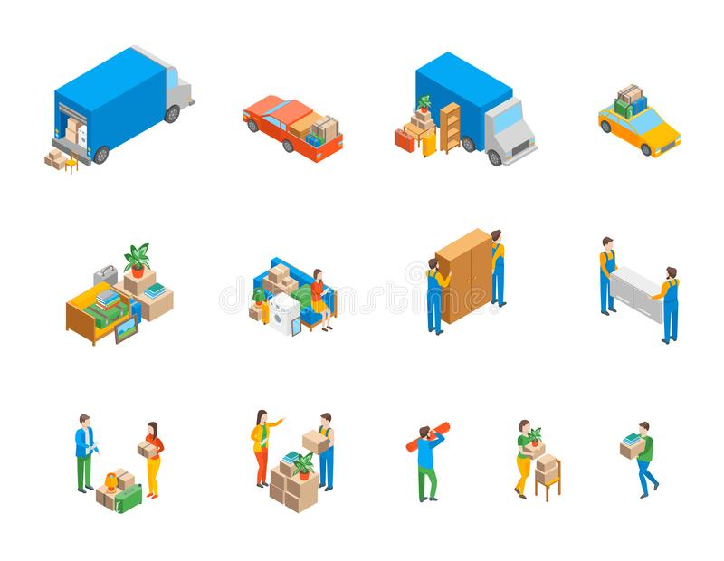 Relocation Service 3d Icons Set Isometric View. Vector stock illustration
