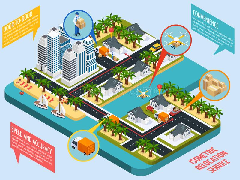 Relocation Service Isometric Composition vector illustration