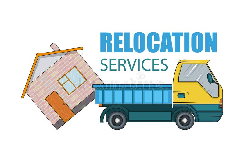 Relocation service. Moving concept. Cargo Truck is transporting. Delivery freight truck illustration. Transport company stock illustration