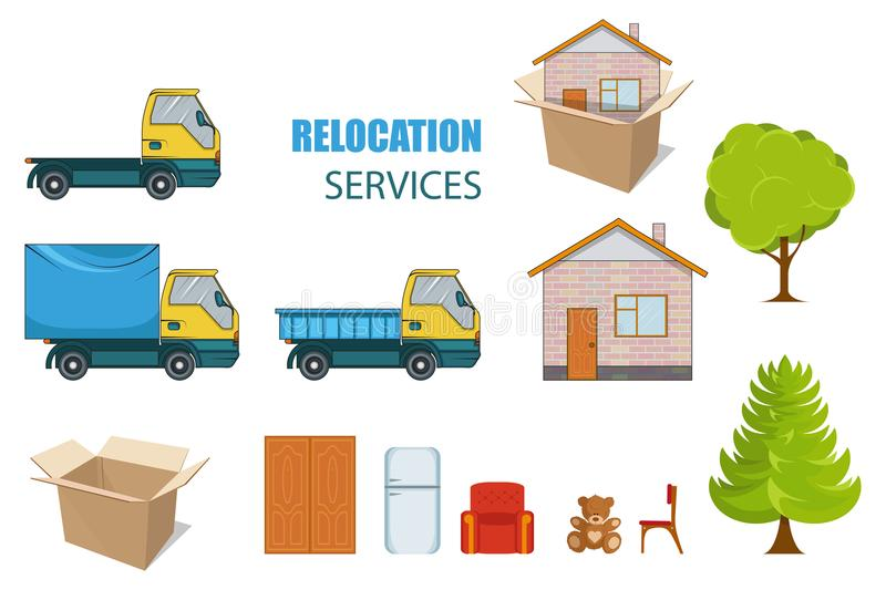 Relocation service. Moving concept. Cargo Truck is transporting things near the house with a tree. Delivery freight truck vector illustration