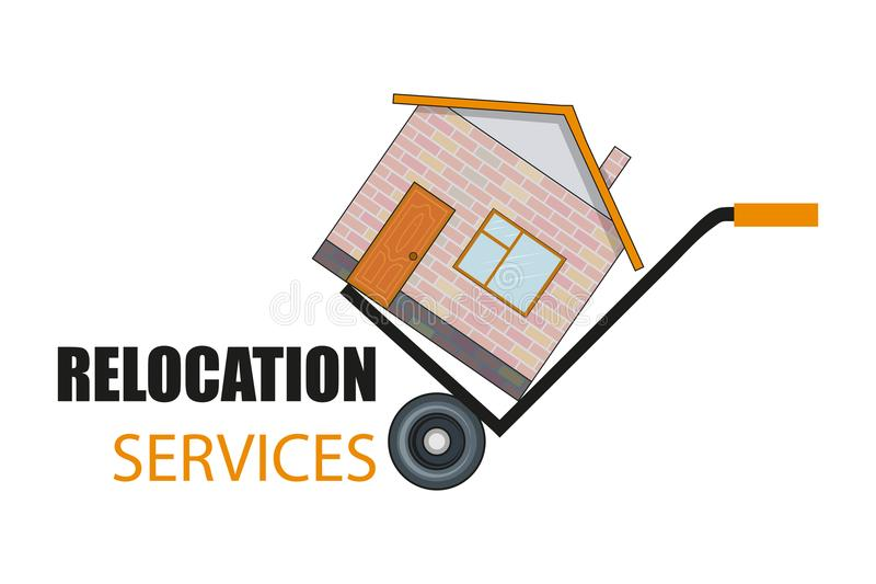 Relocation service. Moving concept. Delivery freight truck illustration. Transport company for relocation and moving. royalty free illustration