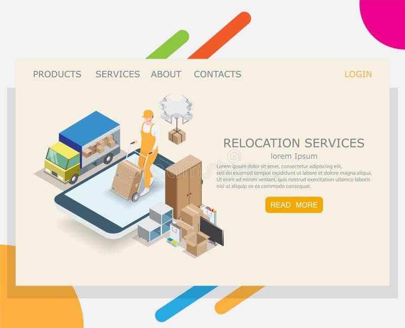 Relocation service vector website landing page design template stock illustration