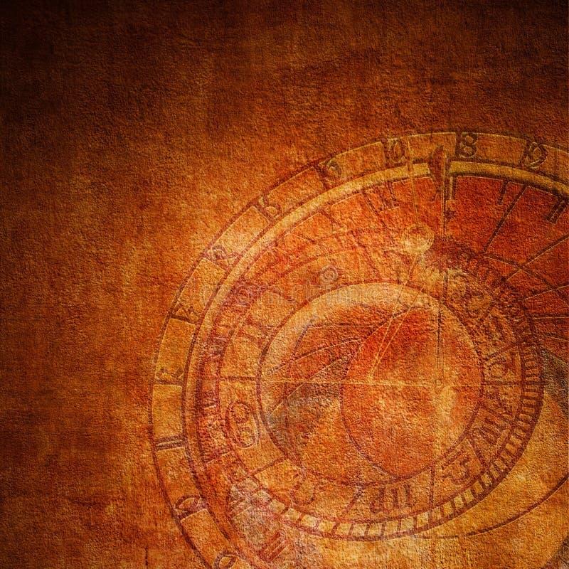 Reloj abstracto del zodiaco imagenes de archivo