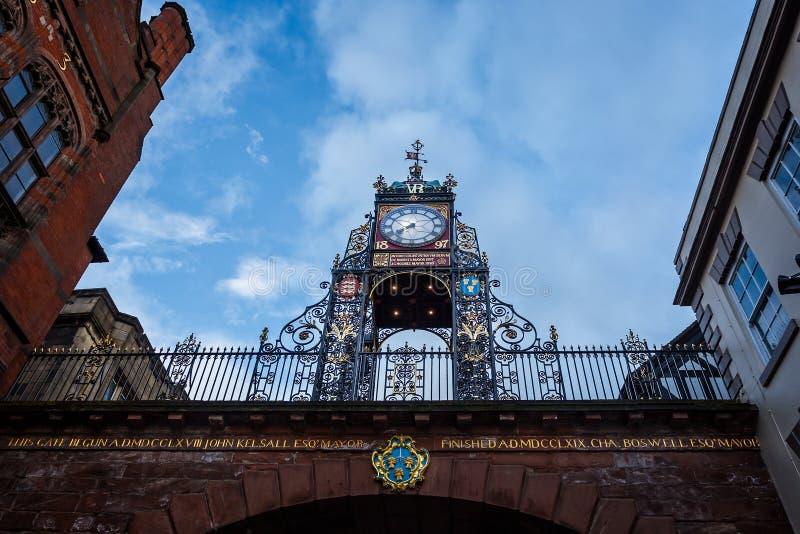 Reloj adornado de Eastgate en Chester, Cheshire, Reino Unido imagen de archivo libre de regalías