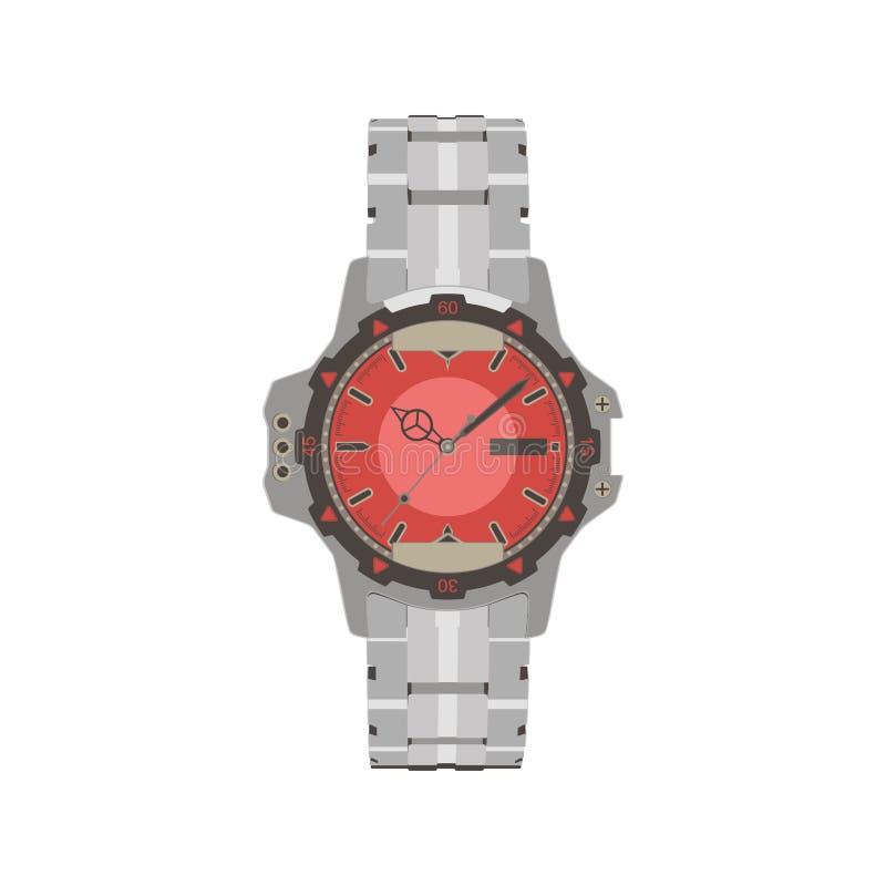 Reloj análogo de los hombres del reloj de la mano del vector Símbolo mecánico del reloj del hombre de lujo costoso Diseño clásico stock de ilustración