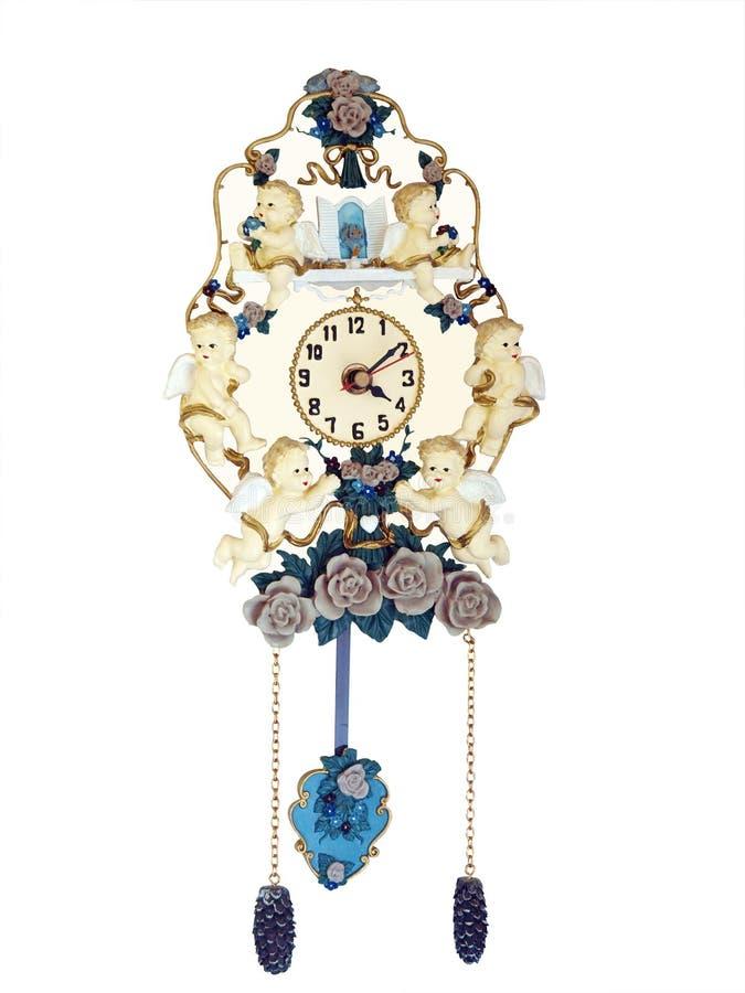 Reloj antiguo con las querubes imagen de archivo