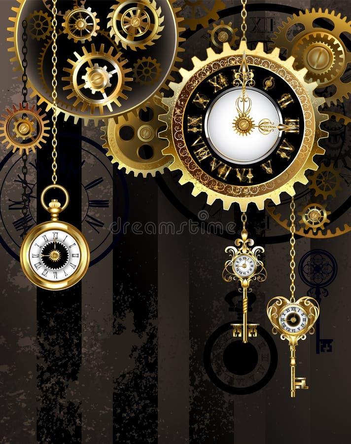 Reloj antiguo con llaves del oro stock de ilustración