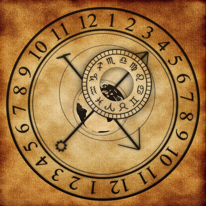 Reloj astronómico stock de ilustración