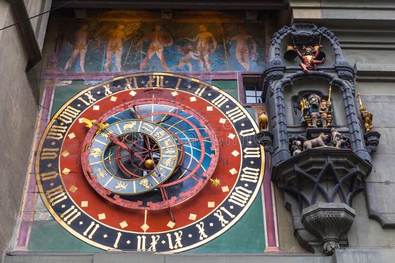 Reloj astronómico antiguo de Zytglogge, Berna foto de archivo
