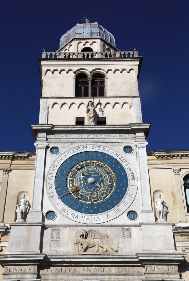 Reloj astronómico de Padua, Italia foto de archivo libre de regalías