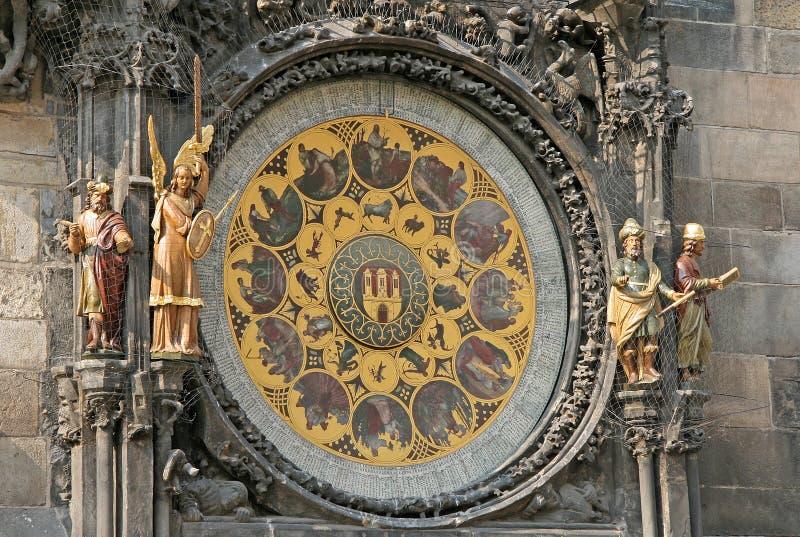 Reloj astronómico de Praga (Praga Orloj) en la pared viejo ayuntamiento, Praga, República Checa la ciudad imagen de archivo