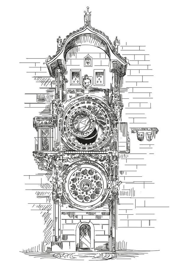 Reloj astronómico en Praga stock de ilustración