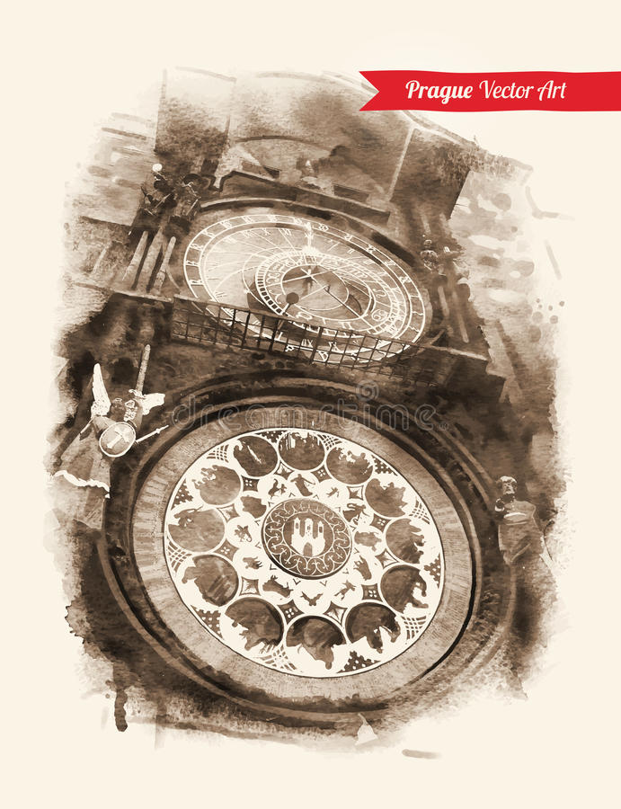 Reloj astronómico praga stock de ilustración