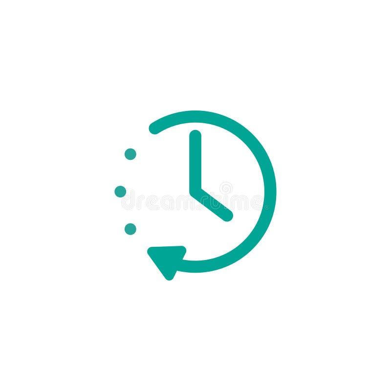 Reloj azul con y flecha redonda Icono plano aislado en blanco Pictograma del reloj de la repetición libre illustration