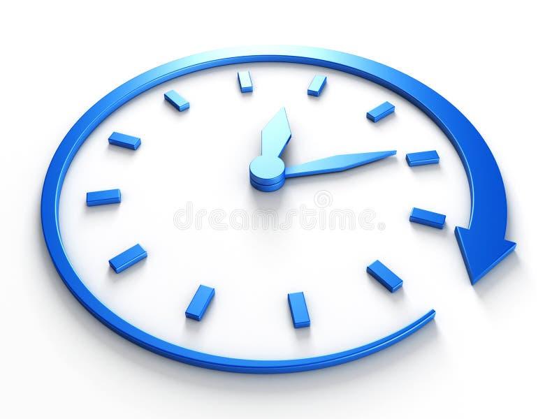 Reloj azul del concepto de la cuenta descendiente con la flecha alrededor stock de ilustración