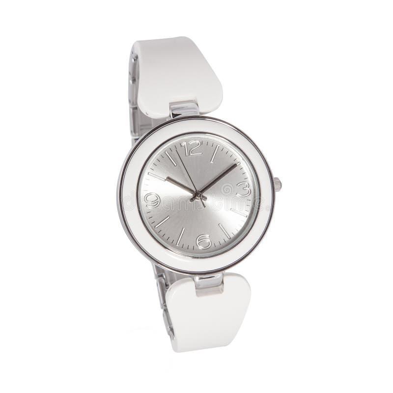 Reloj blanco de plata de la mujer imágenes de archivo libres de regalías