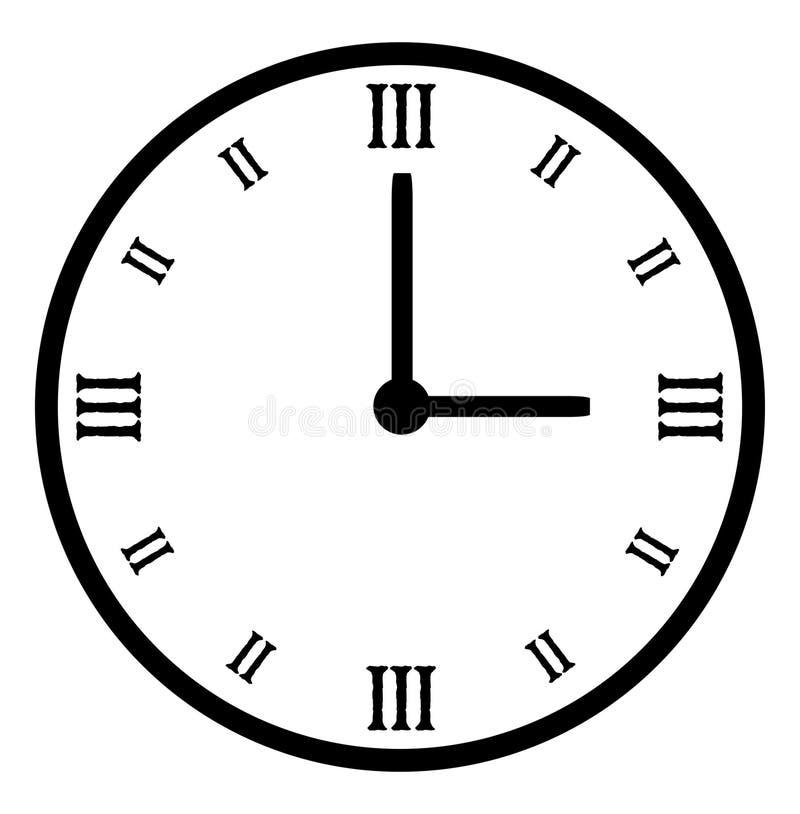 Reloj blanco negro llano del vector stock de ilustración