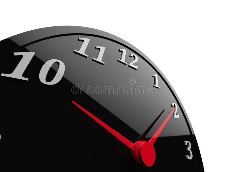 Reloj brillante negro clásico con los diales rojos y los números blancos libre illustration