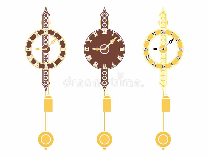 Reloj clásico de la pared sin esquema y coloreado stock de ilustración