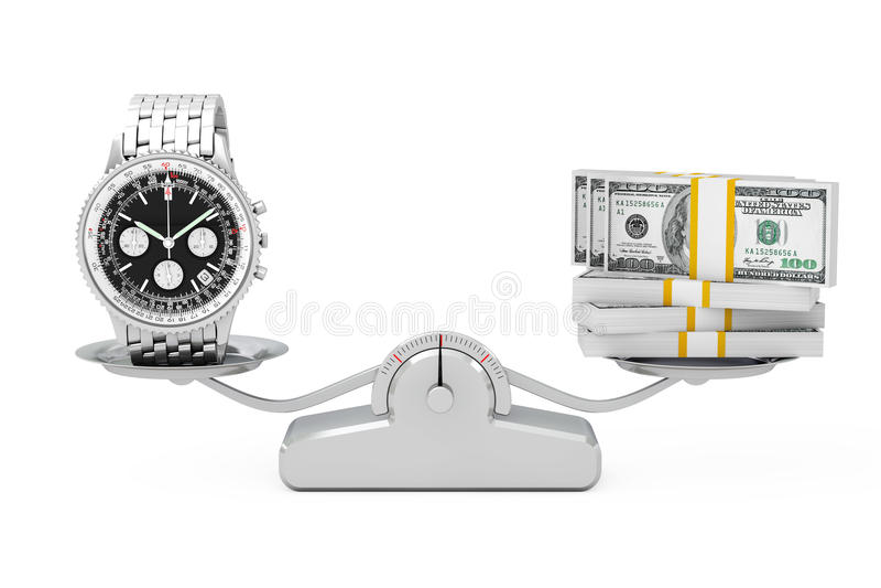 Reloj clásico de lujo de la plata de la muñeca del ` s de Analog Hombre con el dinero Balanc stock de ilustración