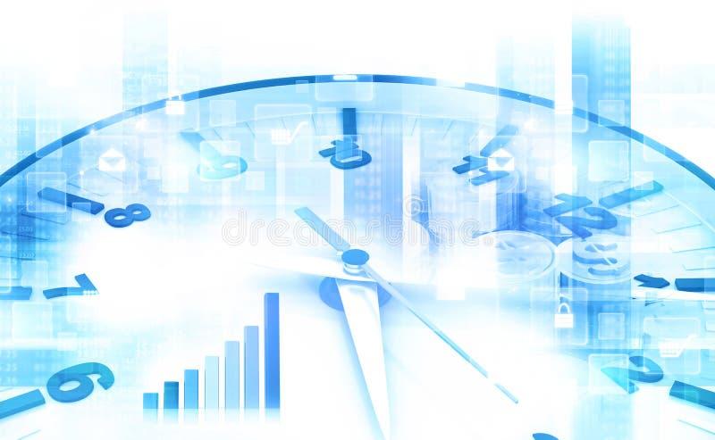 Reloj con el dólar y el gráfico de negocio ilustración del vector