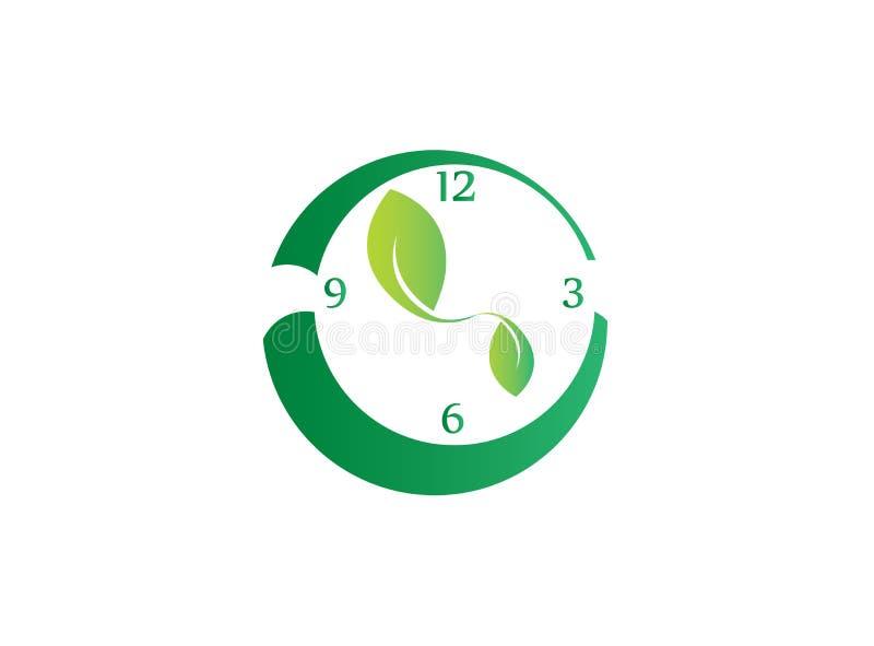 Reloj con las hojas como símbolo a la derecha para ahorrar la naturaleza para el diseño del logotipo stock de ilustración
