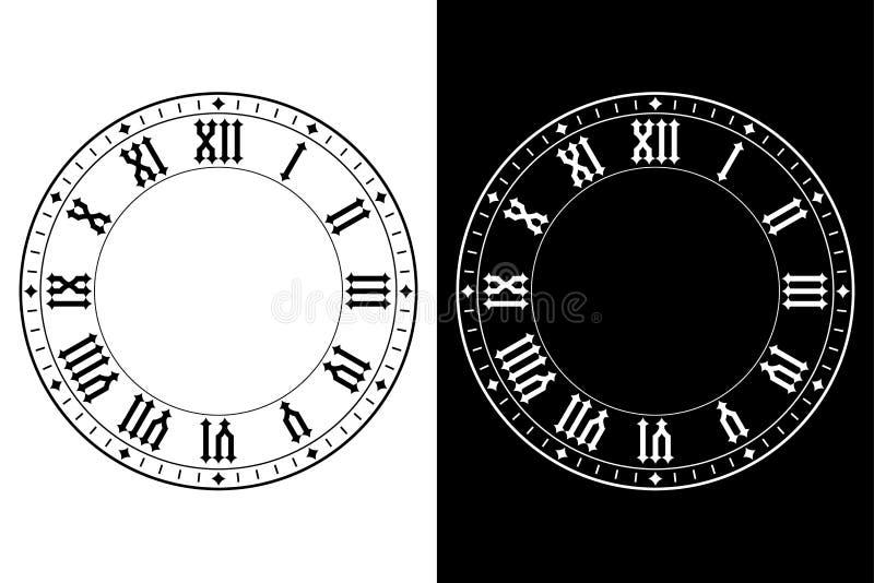Reloj con los números romanos stock de ilustración