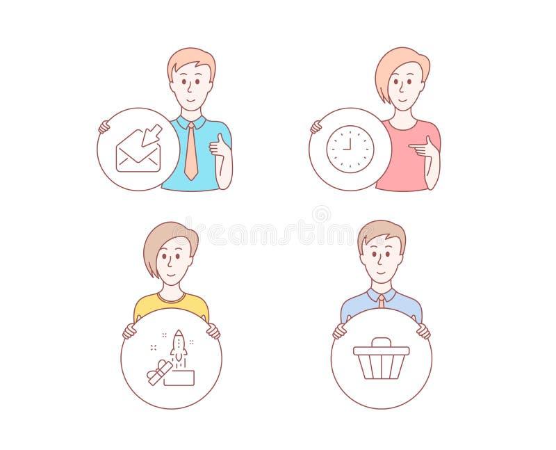 Reloj, correo abierto e iconos de la innovación Muestra del carro de la tienda Mida el tiempo o reloj, email de la visión, Crowdf stock de ilustración