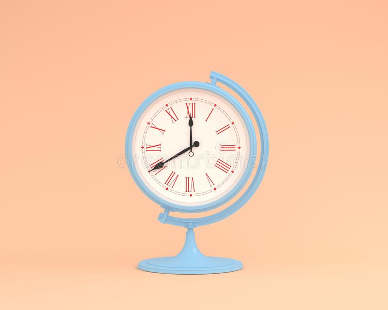 Reloj creativo del orbe de la esfera del globo de la disposición de la idea en el CCB en colores pastel de la naranja imagen de archivo libre de regalías