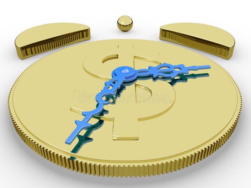 Reloj de alarma de oro imágenes de archivo libres de regalías