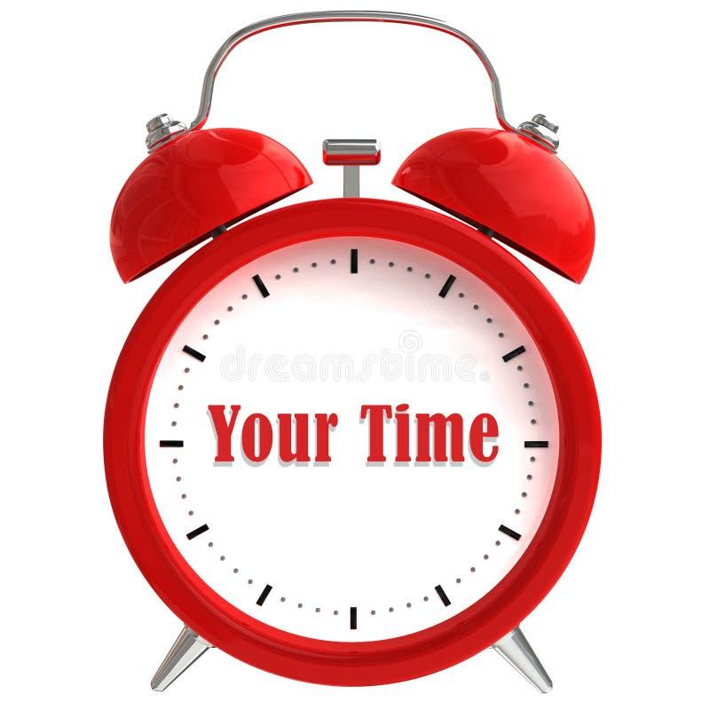 Reloj de alarma en el fondo blanco stock de ilustración