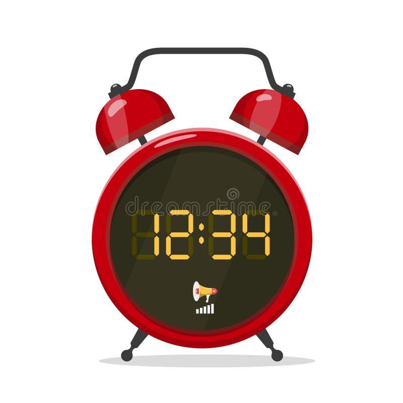 Reloj de alarma de estilo analógico con pantalla stock de ilustración