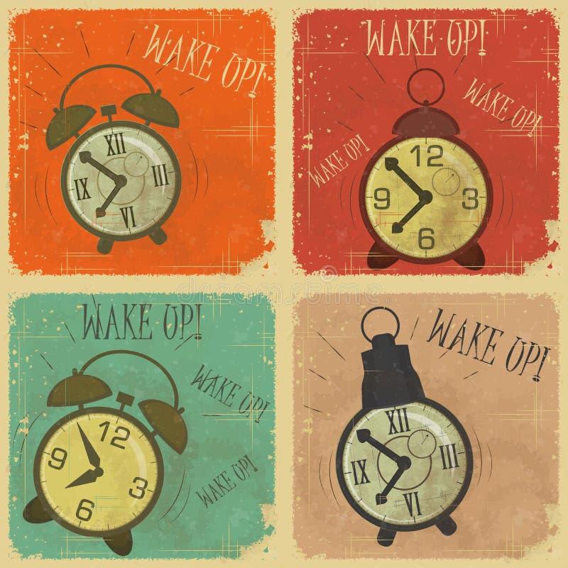 Reloj de alarma retro con el texto: ¡Despierte! stock de ilustración