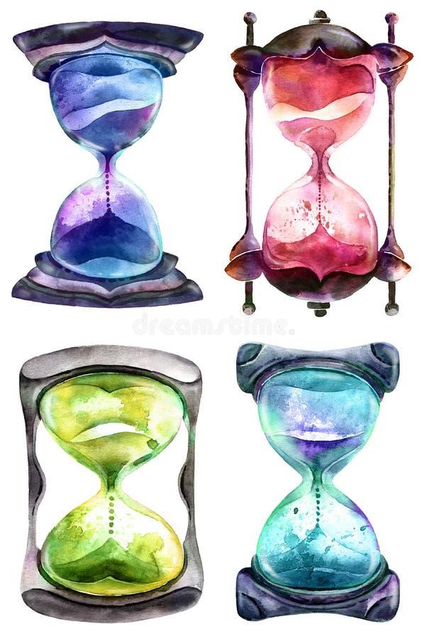 Reloj de arena alquímico de la arena ilustración del vector