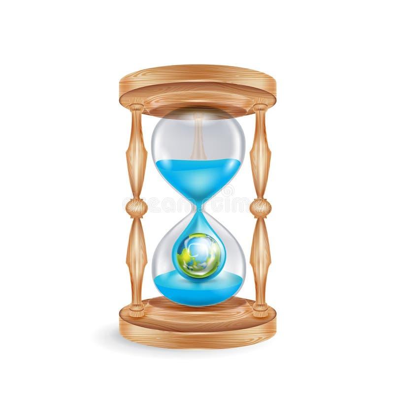 Reloj de arena con el goteo del agua y la tierra del planeta; co ambiental stock de ilustración