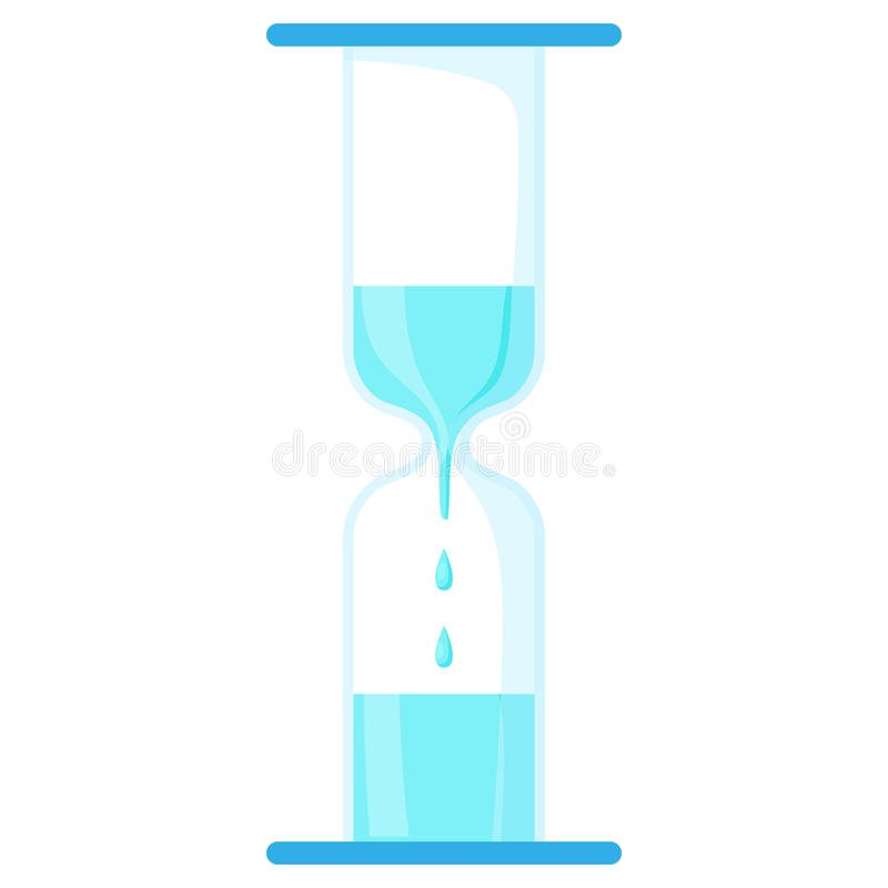 Reloj de arena con el icono del agua del goteo, estilo de la historieta ilustración del vector