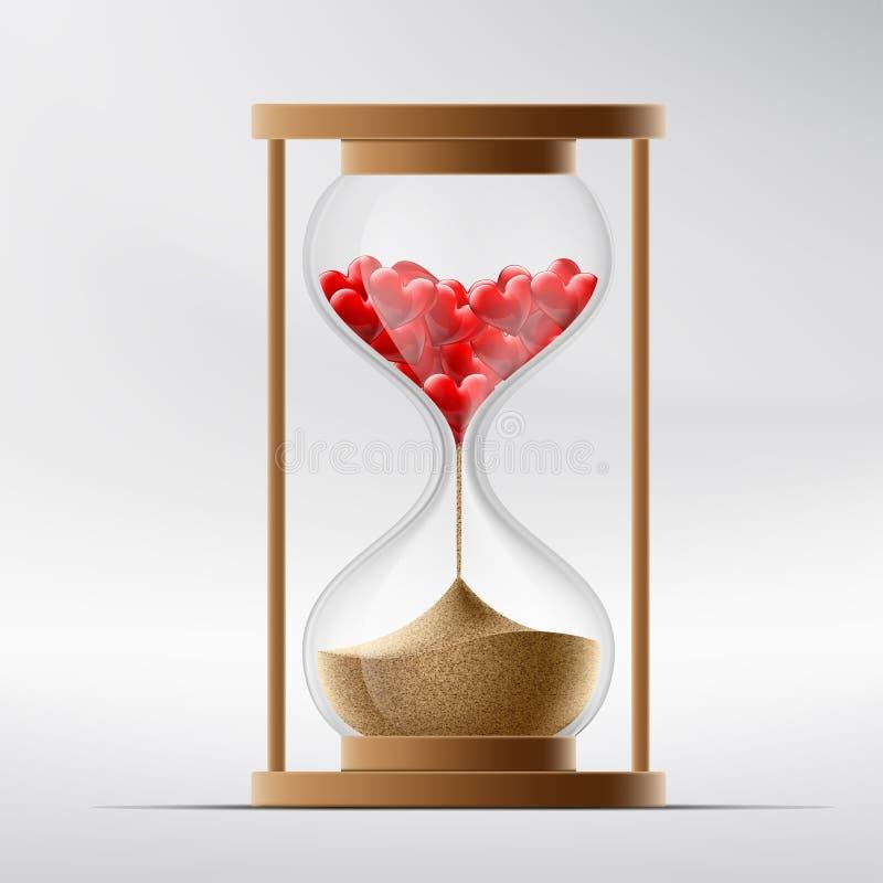 Reloj de arena con los corazones humanos Enfermedad un infarto del miocardio y stock de ilustración