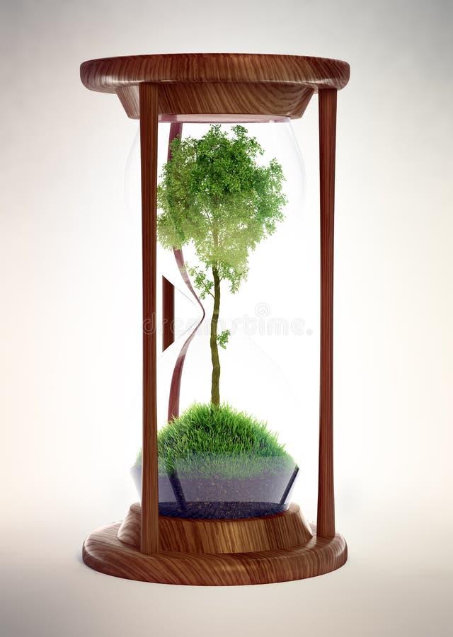 Reloj de arena con un árbol dentro ilustración del vector