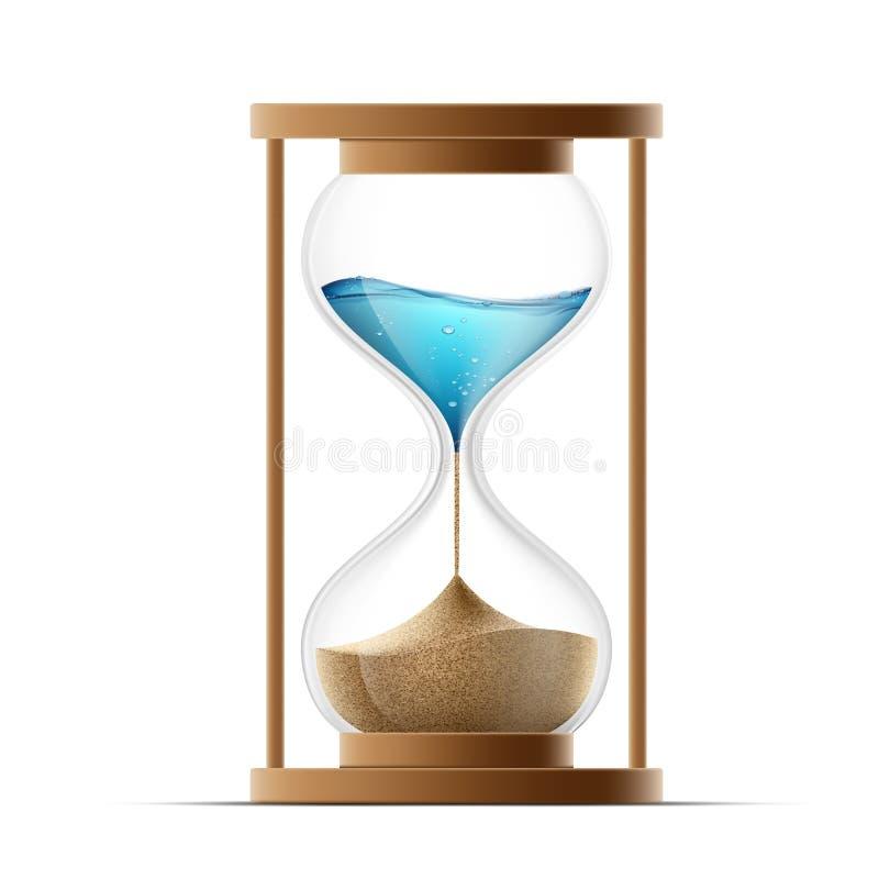 Reloj de arena del icono con la arena y el agua Calentamiento del planeta y árido stock de ilustración