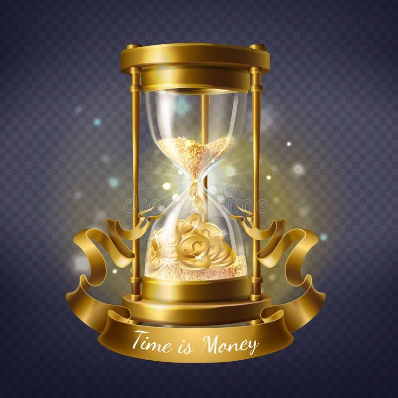 Reloj de arena del vector con las monedas de oro, el tiempo es oro stock de ilustración