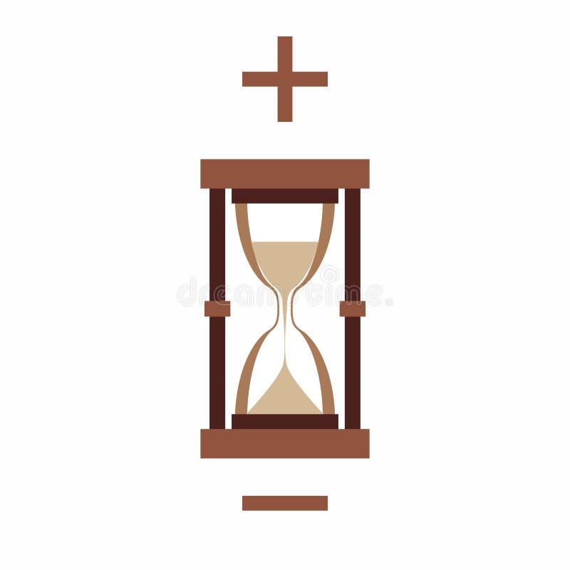 Reloj de arena, más y menos en el fondo blanco libre illustration