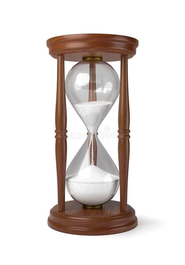 Reloj de arena de madera en el fondo blanco libre illustration