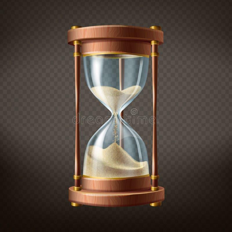 Reloj de arena realista del vector 3d con la arena corriente stock de ilustración