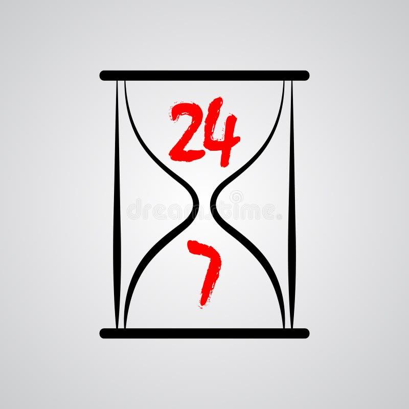 Reloj de arena veinticuatro horas por día 7 días a la semana ilustración del vector